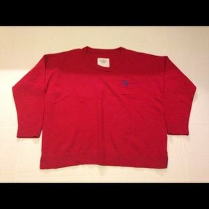 Abercrombie and fitch red crop sweater Size large